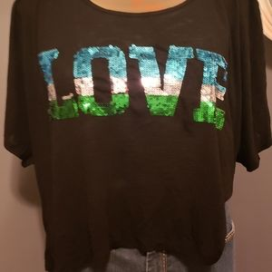 Black sequined ripped back plus size 3X tshirt